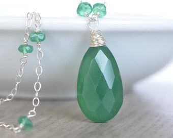 Emerald Green Necklace, Sterling Silver, Chalcedony and Green Onyx Necklace, Green Gemstone Jewelry Holiday Holly Green
