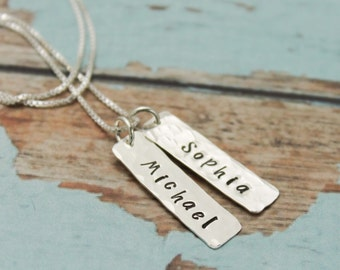 Two (2) Petite Tags Personalized Necklace Sterling Silver Hand Stamped Jewelry