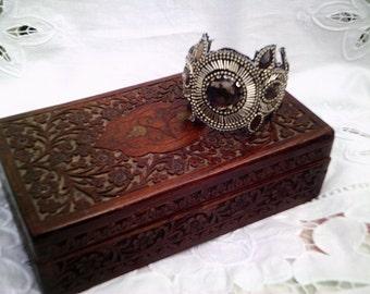 fantasy cuff, fantasy bracelet, fantasty costume, slave bangle, cosplay costume, beaded cuff, evening cuff