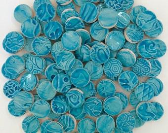 Turquoise Mosaic CERAMIC Circle Tiles