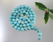 Turquoise Magnesite Beaded Necklace Silver Strand Blue 36 in Vintage - W3299