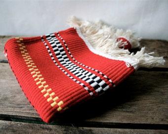 Vintage Folk Woven Table Runner Swedish Mexican