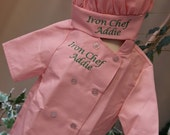 Child's Personalized Chef Coat and Matching Hat Set Embroidered Monogrammed IRON CHEF or custom wording Short Sleeve PINK