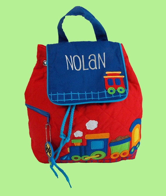 Personalized Stephen Joseph TRAIN Backpack In Blue and Red