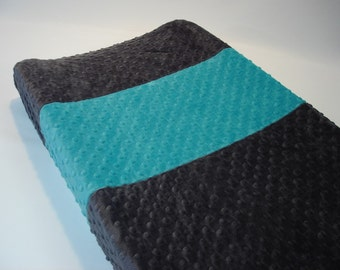 Titanium Gray Changing Pad Cover with Stripe