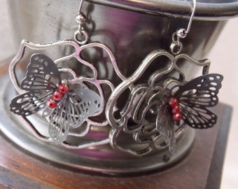 Stunning Rose and Butterfly  Earrings Dangle is 2 inches Eclectic Butterfly and Rose Dangle Drop Shoulder Earrings Floral  Jewelry
