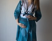Teal Paisleys on Shrubs Robe Hospital Gown Delivery Robe labor gown delivery gown,nursing mothers,to be moms,Pregnancy Robe