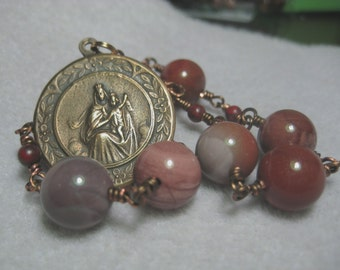 Handmade CATHOLIC Heirloom Quality BRONZE & Earthtone Imperial and Brecciated Jasper Gemstone Nine Bead CARMELITE Our Lady Of Carmel Chaplet