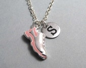 Pink Running Shoe Charm Necklace, Running Shoe Keychain, Silver Plated Charm, Engraved, Personalized, Monogram