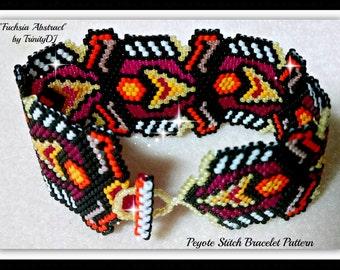 Peyote - Fuchsia Abstract - BP-AB-124a-2015-066 - Peyote Stitch Beadwork PATTERN,seed bead jewelry,beadweaving tutorial,bracelet pattern