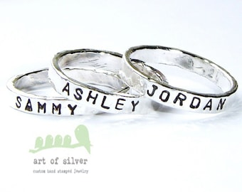 Name rings  - Personalized rings - Date stamped rings - Name stamped band - Wedding rings - Wedding bands -  Baby name rings - Message rings