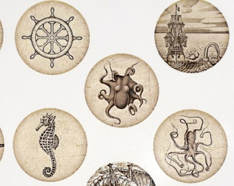 Sailboats and Octopus Ceramic Decals, Glass Fusing Decals, Enamel Decals
