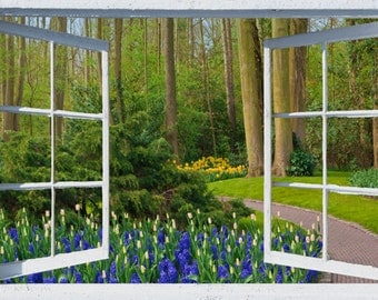 Wall mural window, self adhesive -Holland, open window view-3 sizes available-Spring Garden Path - free US shipping