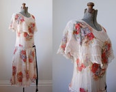 1930's Silk Chiffon Dress • Spring Fete Dress • Floral Silk Dress
