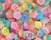 Lot of 100 Glitter Flower Buttons Mixed Colors Sewing Craft EB190