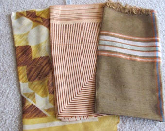 Scarves Lot of 3 Vintage Ladies Poly Acetate Silk Fashion Scarf Affordable Scarves  -  (#15)