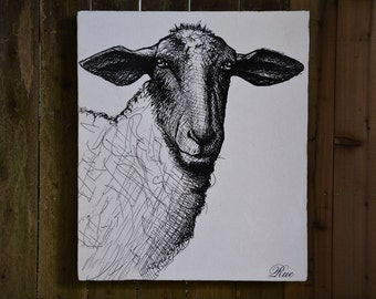 SHEEP - 36x42 - Farmhouse Chic - French Country - reclaimed wood - RuPiper Designs Original