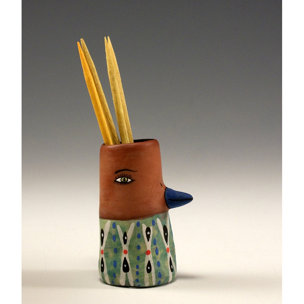 An adorable ceramic bird toothpick holder jamie by jennymendes - Toothpick dispenser bird ...