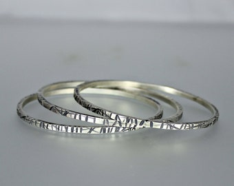 Silver Bangle - Stacking Bangles - Sterling Silver Bangles - Chiseled Silver Bangles - Heavy Stacking Bangles - Set of Silver Bangles