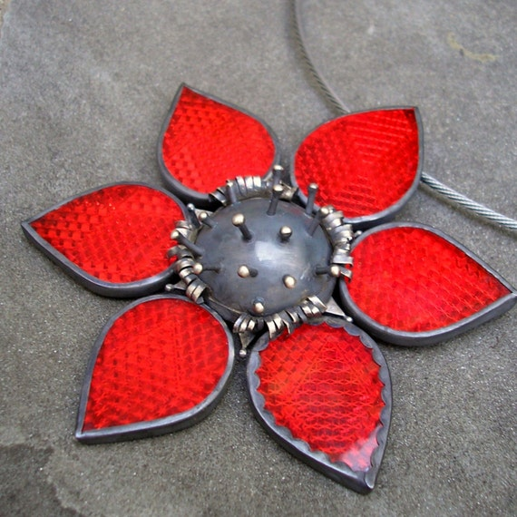 Necklace Red Flower Flower Necklace Big Red