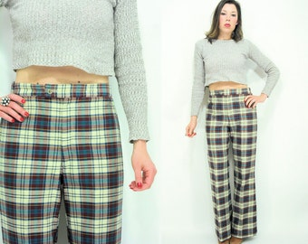 SALE...Vintage 70's High Waist Plaid Wide Leg Trouser Pants / Bell Bottoms