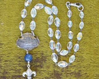 Antique Assemblage necklace with Antique French Monte Carlo Brooch Focal, Kyanite, Fleur de Lys and Glittery Vintage Glass Beads