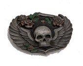 Vintage born to raise hell skull and roses belt buckle heavy piece