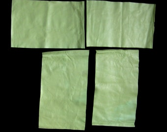 Green Leather Pieces, 4 Large Remnants, Minty Apple, Good Quality Soft Hide, Eco Friendly, Vintage Suede, DIY Crafts, Sewing, Free Shipping