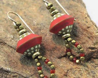 Bronze and Brick --Polymer Clay Bicone and Brass Earrings