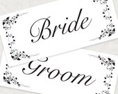 bride and groom printable wedding signs floral elegant signage DIY instant download wedding reception decoration chair sign photo prop