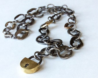 Vintage Steel and Brass Key Tops Brass Lock Pendant Assemblage Necklace