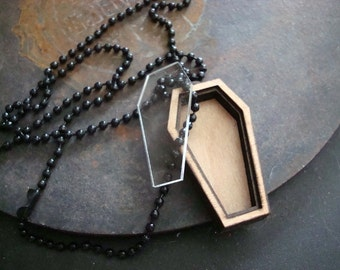 "Gothic, Jewelry, Supplies, Necklace, Coffin Box With Clear Lid, You Add Your Treasures, Seal The Lid, 1/4"" Deep, USA Made, Long Black Chain"