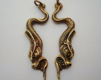 DRAGON EARRING SUPPLY, Pendants, Little Creatures, Necklace Charms, Brass Ox Metal
