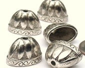 4 pcs. Large Oval Bead Cap Antique Silver or Antique Gold Tibetan Style Bohemian Tassel Component jewelry Supplies Altered Art Supplies
