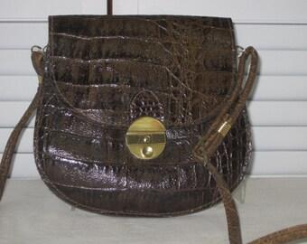 vintage Brown Moc Croc Grained Leather Pouch Cross Body Bag