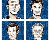 Doctor Who print set - 9th, 10th, 11th & 12th Doctors