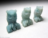 One Blue Aragonite Owl Miniature Stone Carving // Throat Chakra // Crystal Healing // Mineral Carving