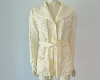 70s acrylic Irish CABLE KNIT cardigan sweater  size small