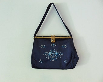 50s Navy Silk WALBORG evening bag very fine made in France