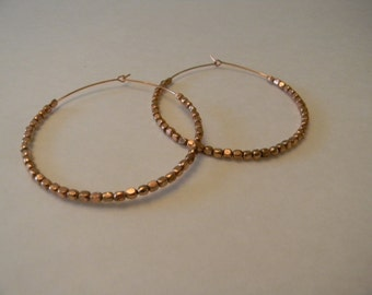 Large Copper Wire Hoop Earrings Handmade:Copper Beaded Earrings For Her-Copper Earrings Free Shipping-Bohemian Dangle Earrings-Wire Wrapped