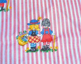 Vintage Fabric - Kids on Red and White Ticking Stripe - By the Yard