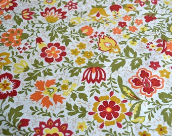 Vintage Fabric - Orange and Yellow Floral Canvas - 49 x 44