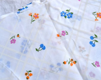 Vintage Fabric - Blue Cherry and Flowers - By the Yard - Curtain Sheer Cotton Poly