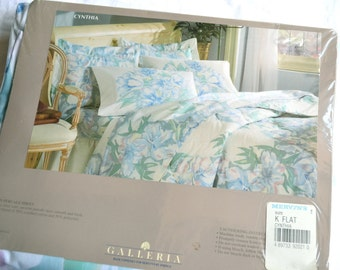 Vintage Bed Sheet - Watercolor Tropical Flowers in Aqua - King Flat NOS
