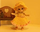 "Crochet Dress and Hat Set fits 4-5"" AI Mini BJD Dolls Yellow and Pink"