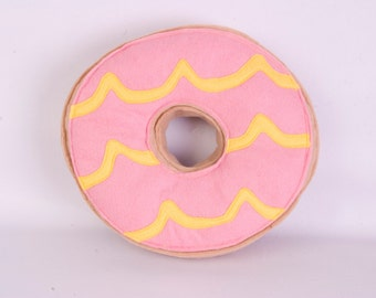 Pink and Lemon Party Ring Cushion. Felt biscuit cushion. Snack food biscuit cushion.
