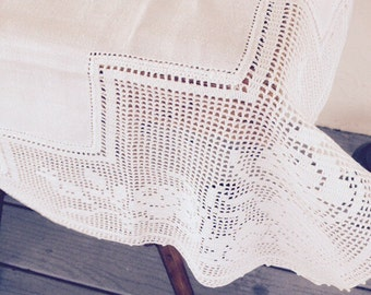Charming Vintage Linen and Homemade Lace Tablecloth