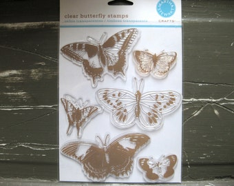 SUPPLY DESTASH - Pre-owned - Martha Stewart - Butterfly Stamps - Acrylic Stamp Set