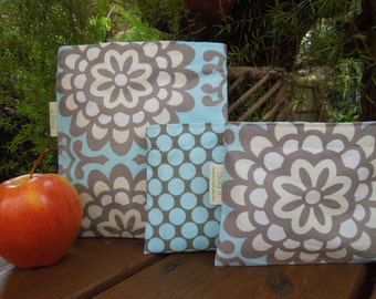 Reusable sandwich and snack bags - Lotus sky and polka dots