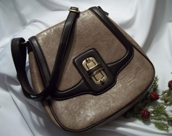 MINT Beautiful Vintage Faux Taupe Chocolate Brown Textured Leather Shoulder Bag -  Women's